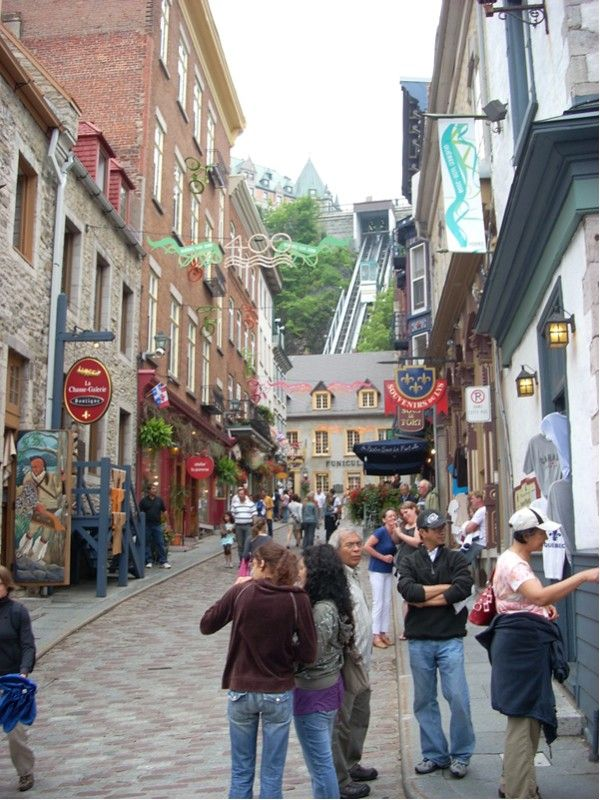city street alley. A Quebec City street with the