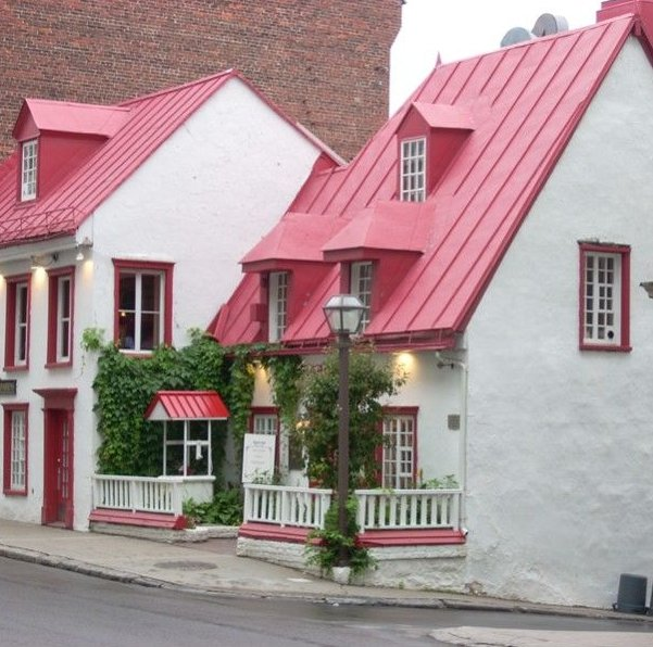 Iconic red roofed shop in Quebec City, Canada as seen in American Public House Review
